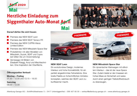 ab 11.05.2020 Showroom offen - Altenburg Garage 1